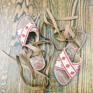 Sam Edelman beaded lace up leather sandals